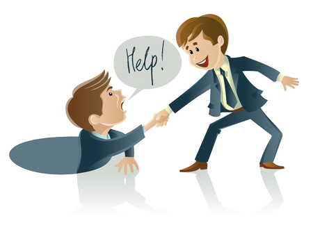 business group: Vector illustration of two men one of whom helps another Illustration