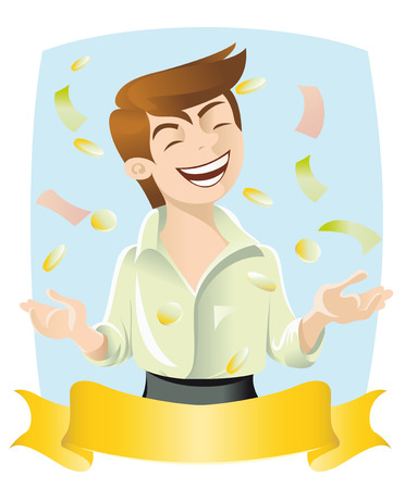 The image of a man rejoicing cash flow. There is a place for labels.