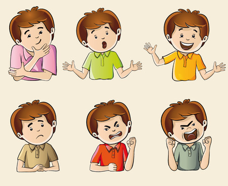 Set of six drawn characters showing human emotions