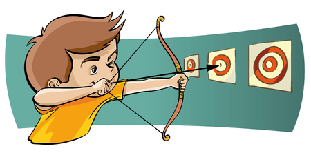 penetration: Drawn character in a yellow t-shirt archery targets