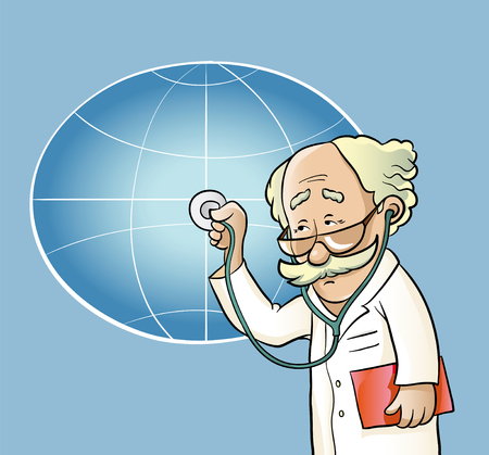 concerned: Vector illustration. Doctor of medicine concerned with the health of the planet