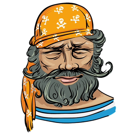 seasoned: Avatar. Vector illustration with the image of a sailor in the pirated version