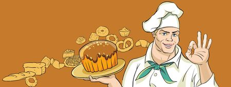 cute images: Cute merry Baker holding tray of cake. The background of the images of different pastries.
