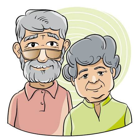 old wife: Bust portrait of an elderly couple in cartoon style Illustration