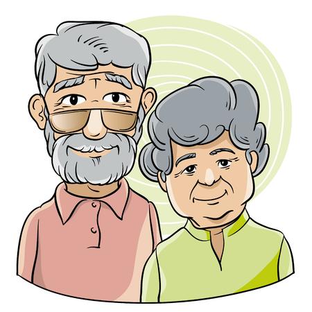Bust portrait of an elderly couple in cartoon style Illustration