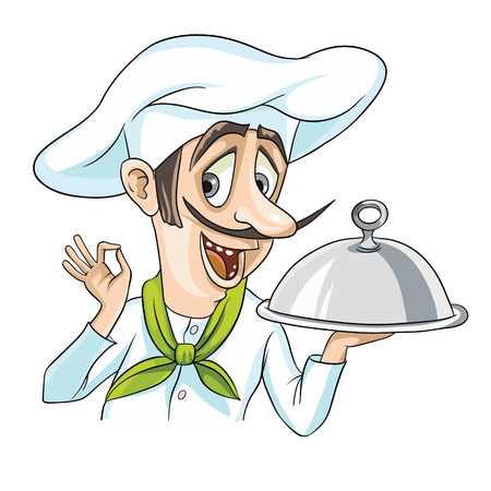 one man only: Nice Chef serving the dish. Flat style illustration