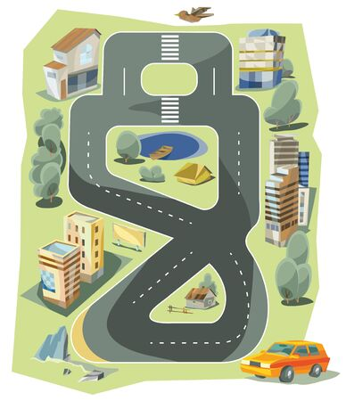 car on the road: Small town urban landscape in flat design style, illustration. To print on a t-shirt tired parent Illustration