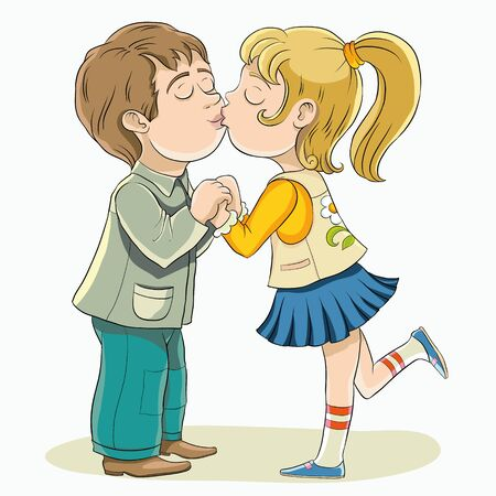 Young boy and girl kissing.