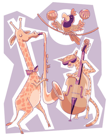 double bass: African animals perform a free jazz double bass, saxophone and maracas. Illustration