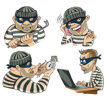 Geschilderd personages in Vaus rollen, dieven, hackers en oplichters Stock Illustratie