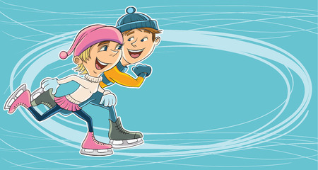 Young people have fun skating on ice