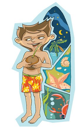 Boy beach shorts, holding a coconut, next to surfboard