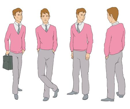 The figure of one man in four different poses