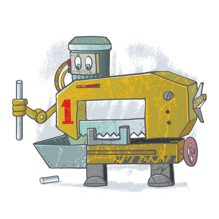 cut off saw: Cartoon robot from the category of tools for engineering
