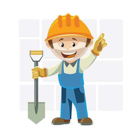 Builder in a helmet, holding in his right hand a spade. Left hand shows up 向量圖像