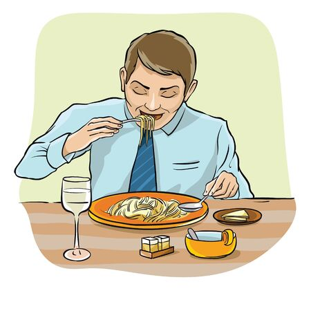hes: The man at the table before a plate of spaghetti. Hes holding a fork and spoon