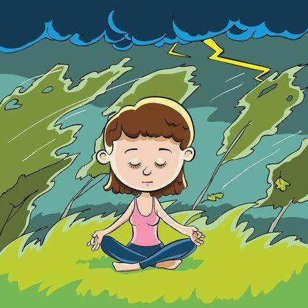 position d amour: wowoman méditant dans la pose de Lotus. Autour d'elle le vent et la tempête