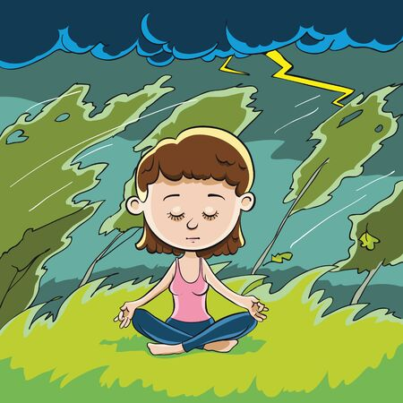 wowoman meditating in pose of Lotus. Around her the wind and the storm