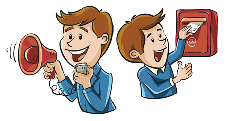 speakerphone: Two of the characters, illustrating the means of communication are mail and speakerphone