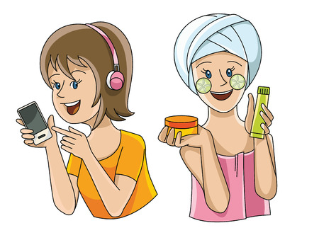 Two female figures in different situations-listening to music and beauty treatments Illustration