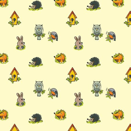 Pattern for a childs theme using the images of forest animals