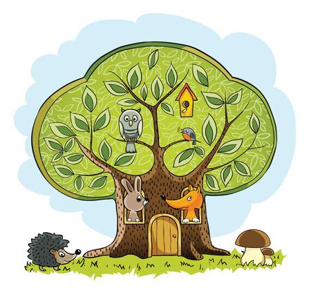 la ilustración de libros para niños, Casa de la selva para los animales Ilustración de vector