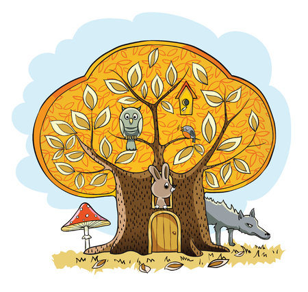 Childrens book illustration, forest house for tabbit
