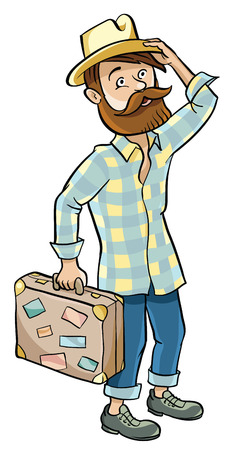 Hipster going on a trip, he Packed a suitcase and thinks where to go. 向量圖像