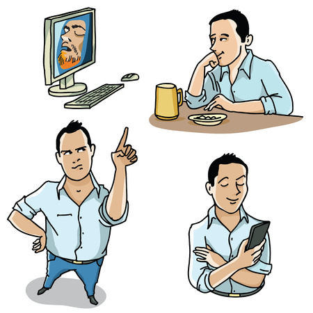 Three versions of the picture of a young man in different poses and the computer.