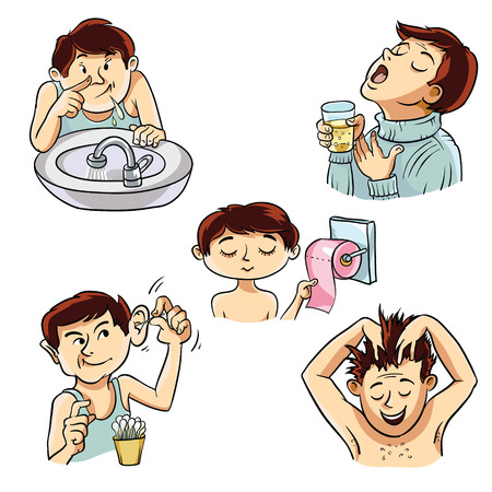 rinse: Four images of a person involved in personal hygiene. Illustration