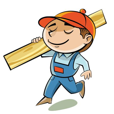 A carpenter in a red cap bears edged boards on the shoulder. 向量圖像