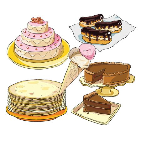 individual images of confectionery in color for the holiday table