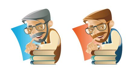 Professor with books, glasses makes hand gesture 向量圖像