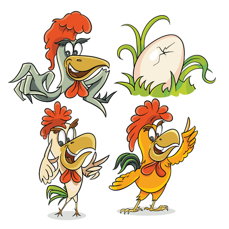 The set of three funny chickens and eggs in the grass 向量圖像