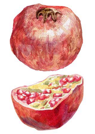 Ripe pomegranate and its half 版權商用圖片