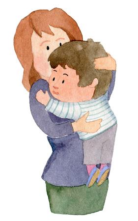 Mother hugging son 版權商用圖片