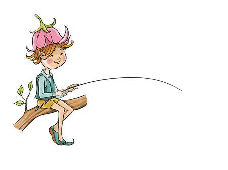 Elf sitting on a branch 向量圖像