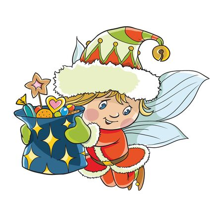 Flying little elf 向量圖像