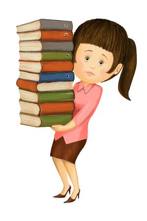 The girl accountant annual reports 版權商用圖片
