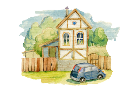 Small house in the village and a car Stock Photo