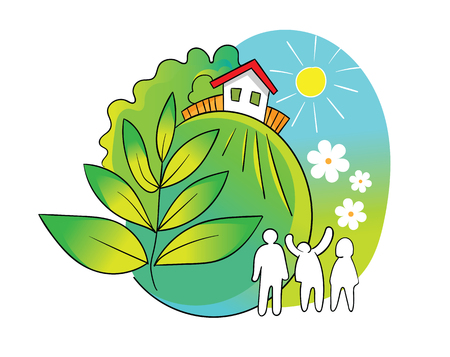 Family lives outside the city, vector illustration.