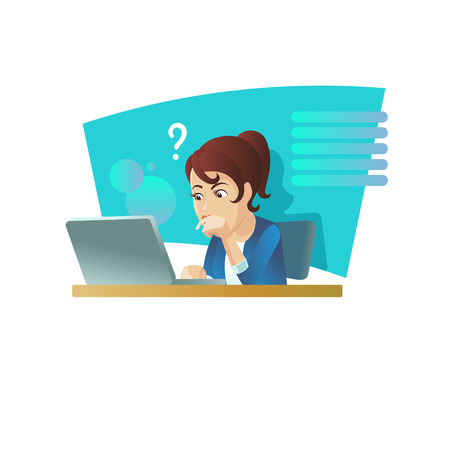 Girl at the computer, vector illustration.