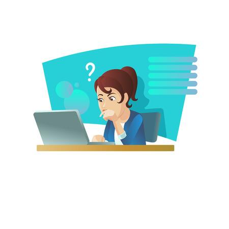 Girl at the computer, vector illustration. 版權商用圖片 - 104216413