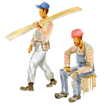 Two of the Builder on a white background 版權商用圖片 - 117705859