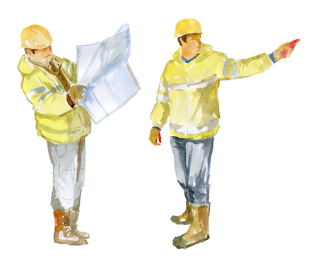 Two of the Builder on a white background 版權商用圖片 - 117705862
