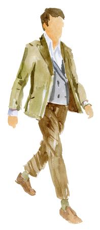 Walking man in casual clothes 版權商用圖片