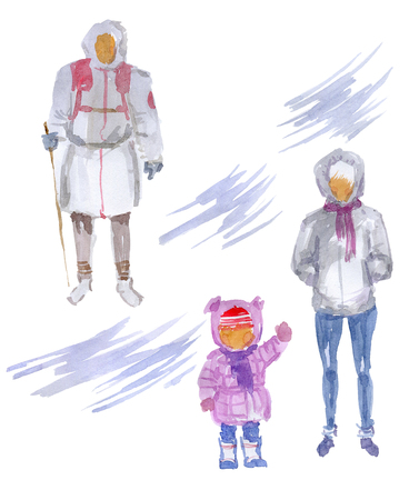 Family members in winter clothes 版權商用圖片 - 117705881