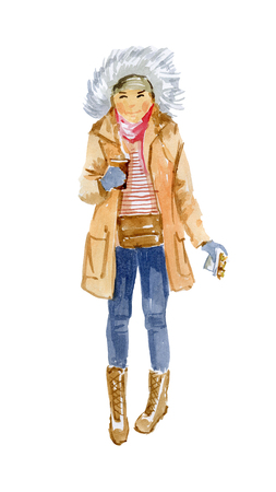 Girl with a hot drink 版權商用圖片 - 117705864