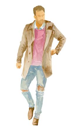 A man in full-length winter clothes 版權商用圖片