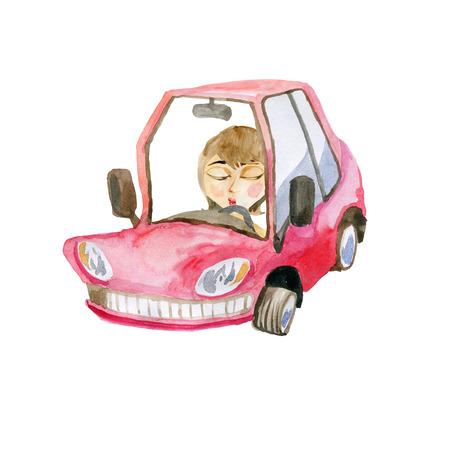 Girl in a cartoon car 版權商用圖片